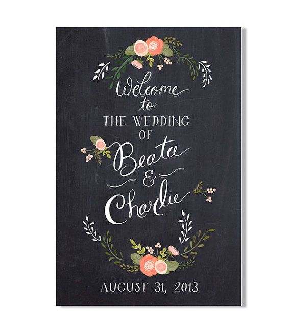 Wedding Welcome Sign  20 x 30 Chalkboard Inspired