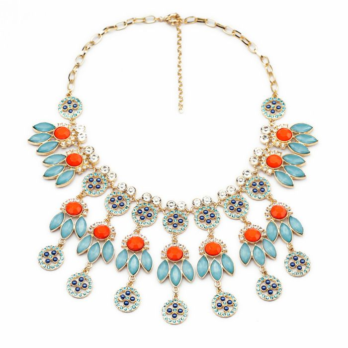 Isajewelry Fashion Colorful Flower Statement Necklace Rhinestone Muticolor Rope Chunky Bubble Bib Women Jewelry ZXuv5xy2
