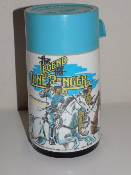You are looking at a vintage Aladdin thermos featuring The Legend of the Lone Ranger. This thermos is in used but still good condition. It is missing the cap.