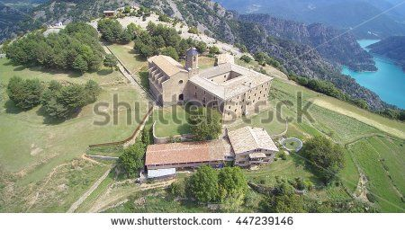 Aerial: Santuari de Lord. Sanctuary in mountains.
