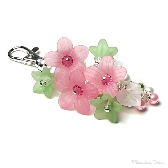 Petal Pink Green Floral Crystal Pearl Cluster Silver Handbag Charm Keychain Accessory is handmade with a silver finish chain, dainty
