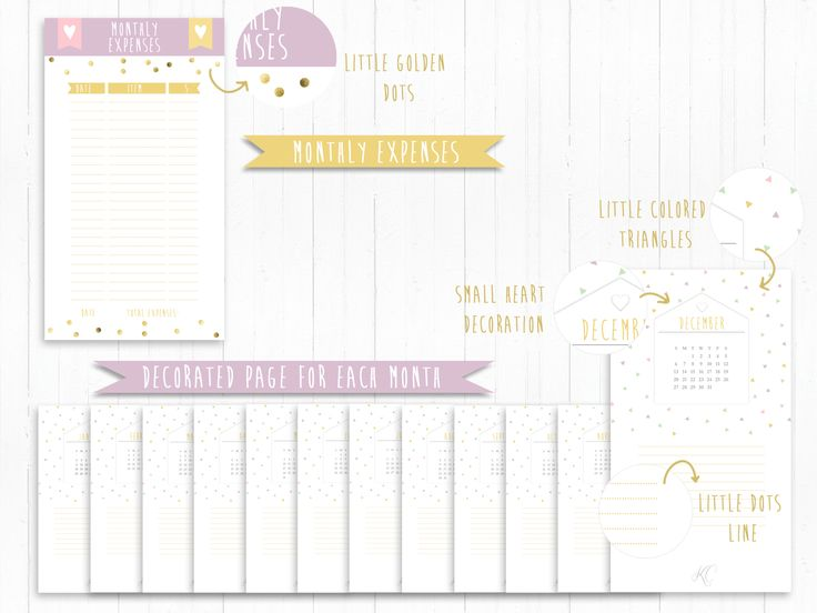 Academic Calendar Planner Refill : Printable inserts refills calendar for each month