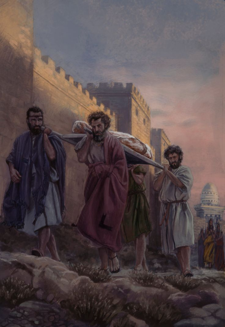 This piece was made for an exhibit at the Creation Museum. The men carry the body of Jesus to the Tomb. The walls of Jersusalem on the left, the Tower of Mariamne behind. It was a collaborative effort by Ben Iocco, Greg Iocco, and myself. We work on a set of the three pieces at once, and each day we rotated them and work on each other's work. Check my blog for updates – I plan to do a blog about the collaboration as well as the historicity of these pieces.
