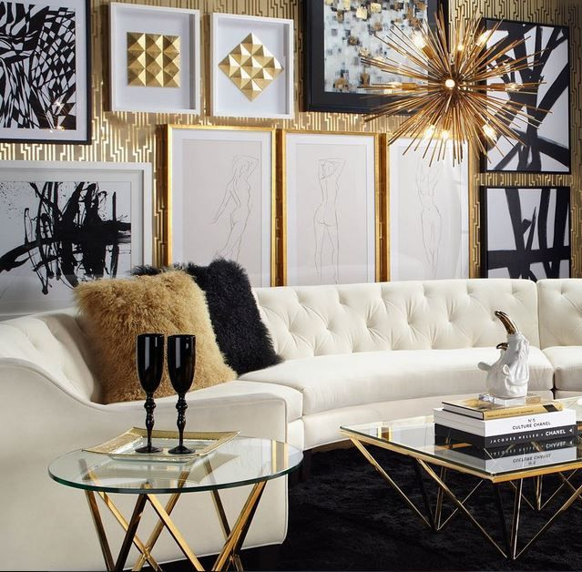 Pin by vanessa d on black white silver gold pinterest for Gold and black living room ideas