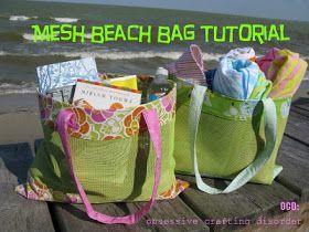 ocd: obsessive crafting disorder: Summer's here! Mesh beach bag tutorial
