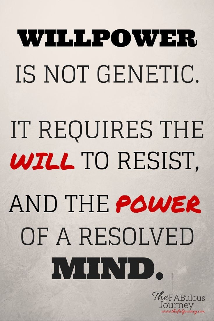 fitness, willpower is not genetic, printable