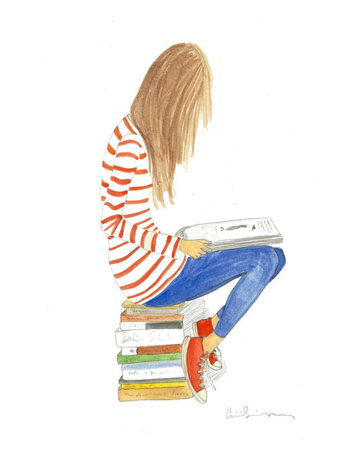 illustration watercolor girl with books and stripes print. $20.00, via Etsy.