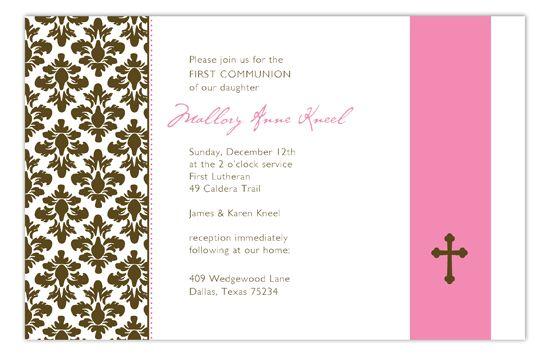 Pink Floral Damask Invitation