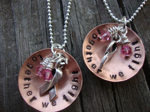 Together we fight handstamped support necklaces by Lolasjewels, $48.00.  $8 will be donated to breast cancer research.