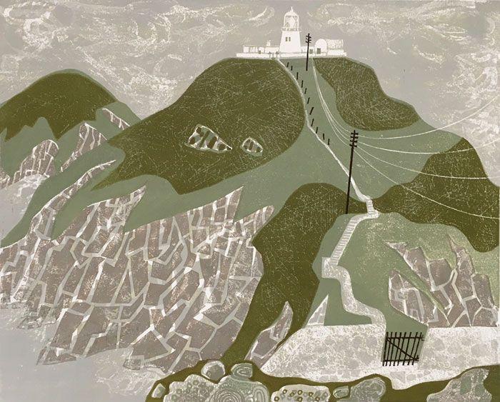 'Strumble Head Lighthouse' by Melvyn Evans, 2016 (linocut)