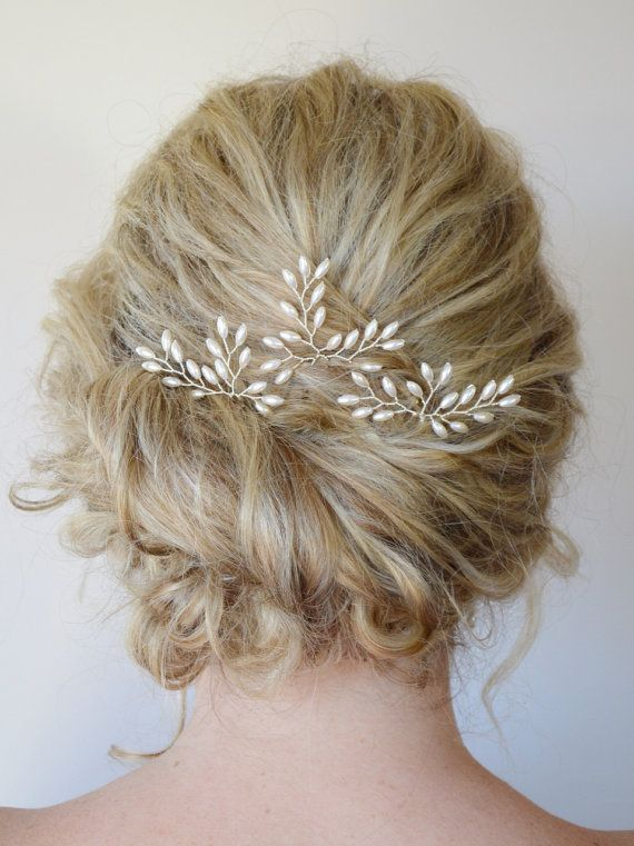 Rice Pearl Crystal Hair Vine Wedding Hair by RoslynHarrisDesigns