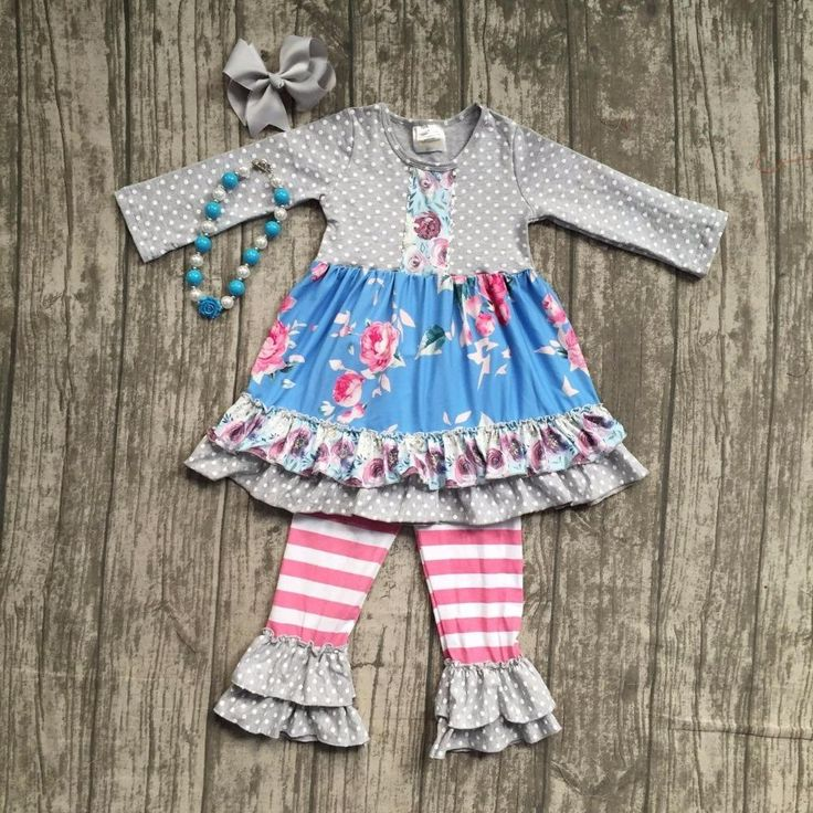 Grey Polka Dot Floral Ruffle Outfit 4PC