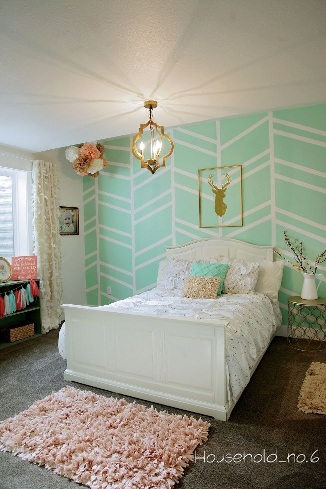Little girls mint and gold bedroom, Harringbone wall, kids space.Household  No.