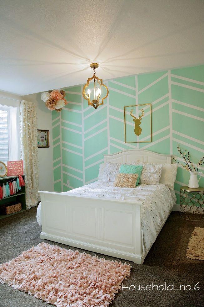 Little girls mint and gold bedroom, Harringbone wall, kids