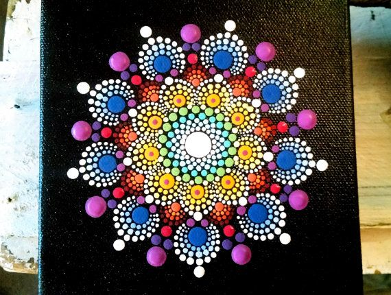Original Dot Art Painting on 5x5 canvas by by P4MirandaPitrone