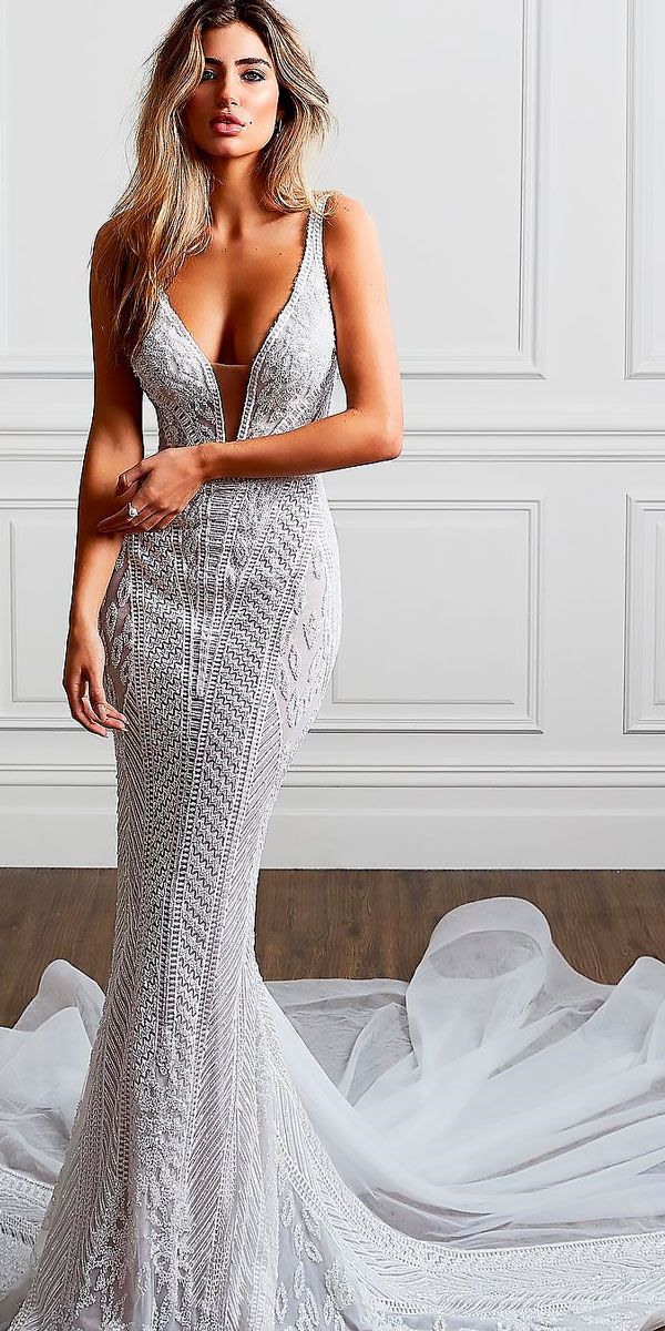 10 Best Wedding Dress Designers For 2017 ❤ sheath lace deep v neckline sleeveless with straps wedding dress designers pallas couture ❤ See more: http://www.weddingforward.com/wedding-dress-designers/ #wedding #bride