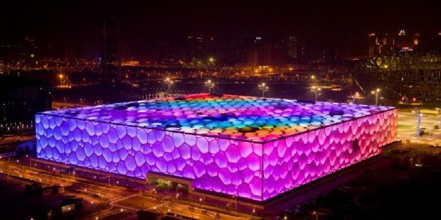 The Beijing National Aquatics Center, colloquially known as the Water Cube, is an aquatics center that was built alongside Beijing National Stadium in the Olympic Green for the swimming competitions of the 2008 Summer Olympics.The building is not an actual cube, but a cuboid (a rectangular box). Ground was broken on December 24, 2003, and the Center was completed and handed over for use on January 28, 2008. Swimmers at the Water Cube broke 25 world records during the 2008 Olympics.