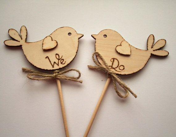 We Do, Rustic Wedding Cake Topper, Bird Cake Topper - Rustic Cake Topper, Wooden Cake Topper
