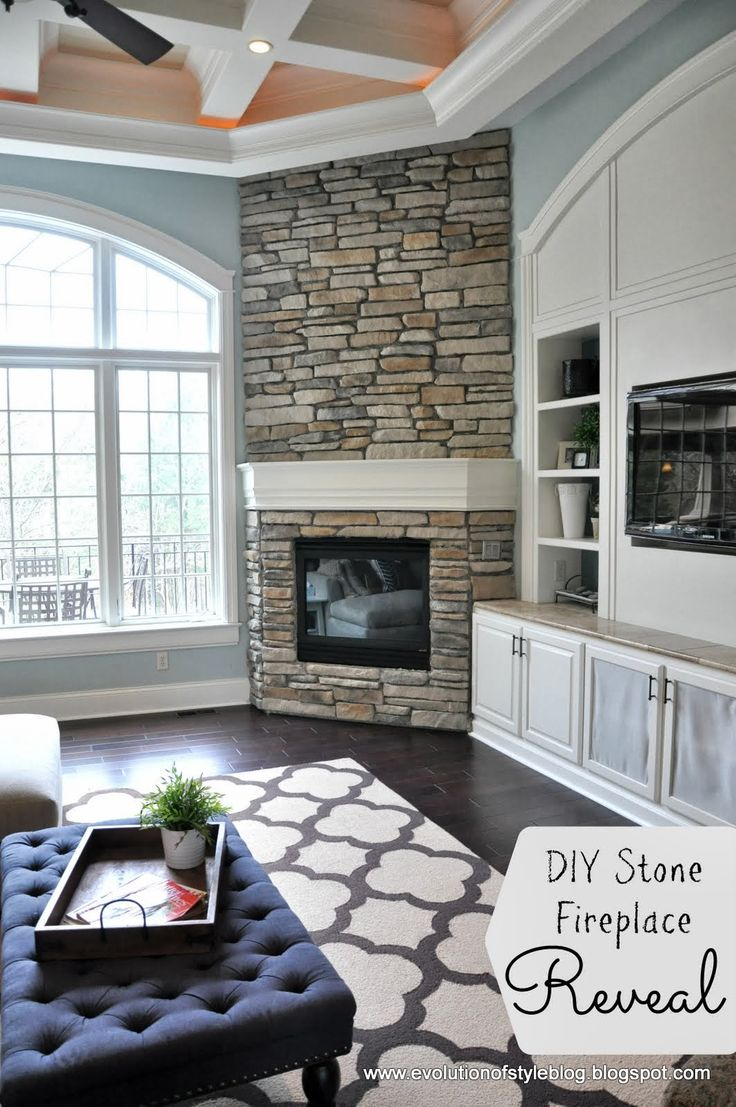 Bedroom stone fireplace - Diy Stone Fireplace Reveal For Real Evolution Of Style