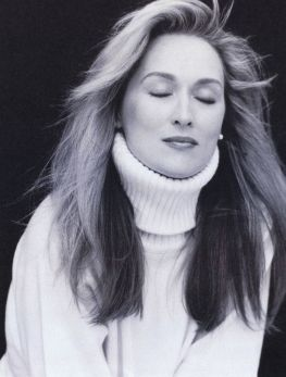 Meryl Streep's classic beauty and simple hair, makeup and clothes are the epitome of beauty.