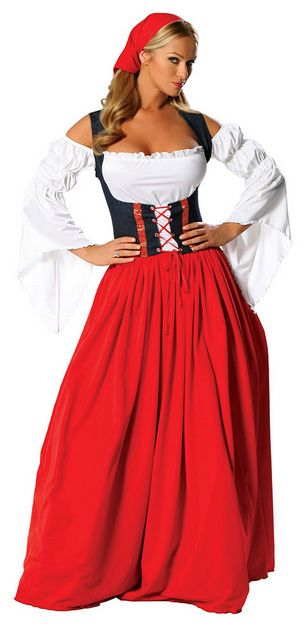 Oktoberfest Costumes - 4Pc Swiss Miss Oktoberfest Costume (Incl. Peasant Top, Skirt, Lace-Up Waist Cincher