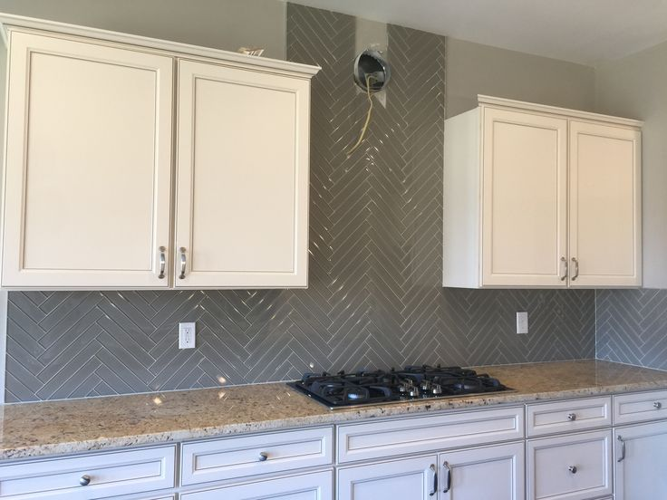 Color Waves 2x12 Silver Mink Backsplash Tiles Installed