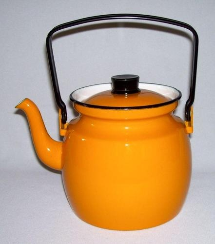 Finel Arabia Orange Enamelware 1 58 Qt Kettle Tea Pot Kaj Frank Finland | eBay