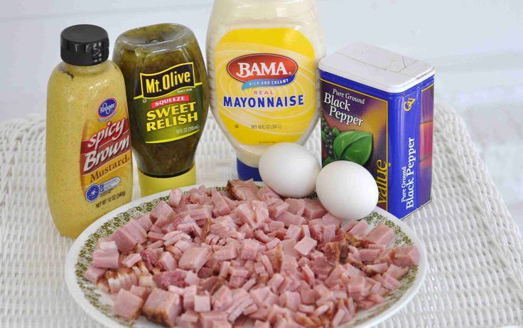 Ham Salad Sandwich:  2 cups chopped smoked or baked ham- diced as finely as you like  1/2 cup mayonnaise  1/4 cup sweet pickle relish  2 boiled eggs, peeled and chopped  1 teaspoon spicy brown mustard  pepper to taste