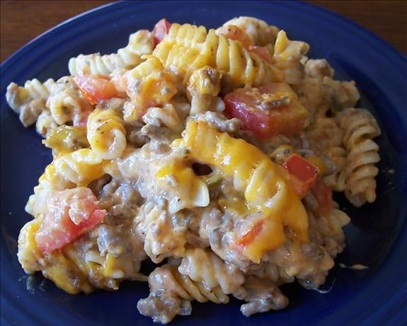 California Cheeseburger Pasta Casserole from Food.com: It really does taste like a Ca. Cheeseburger! You can skip baking and just serve it staight from the skillet if your short on time. My kids really love it.