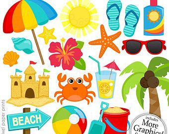 Girls at the Beach Clipart Clip Art and por pixelpaperprints