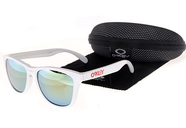 $10.99 Perfect Oakley Frogskins Sunglasses White Frame green Lens Low Price Dumping www.oakleysunglassescheapdeals.com