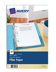 "Keep your mini binder well stocked with 100 sheets of 5-1/2"" x 8-1/2"" medium weight, college-ruled filler paper"