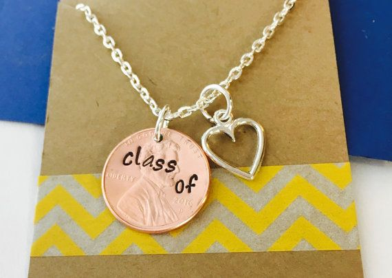 Hand Stamped Graduation Penny Necklace Class of by UniquelyImprint