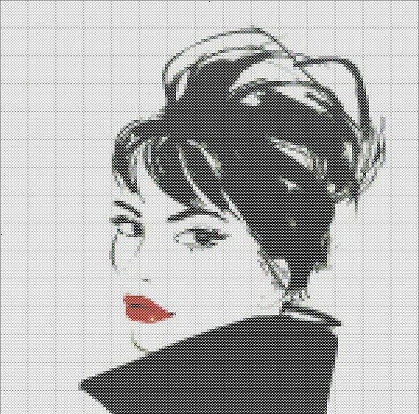 Beautiful Woman Free  Cross Stitch Pattern Chart