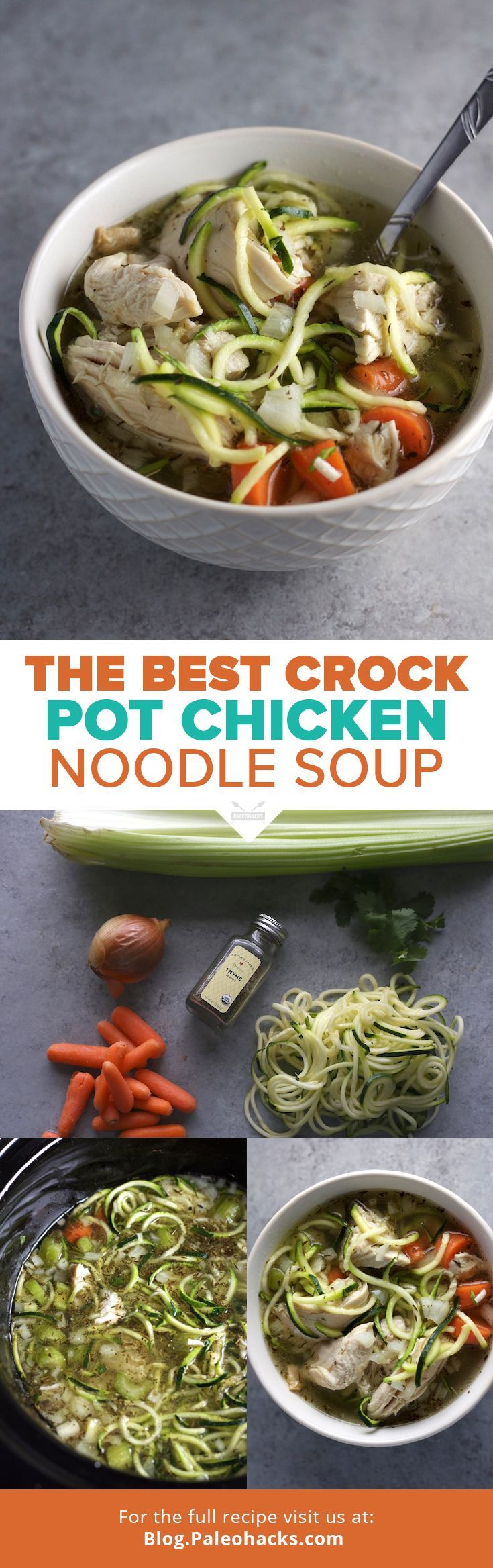 Try this tasty chicken soup recipe that subs out traditional grain noodles with zucchini noodles. Bonus: it's made in a crock pot! Get the recipe here: http://paleo.co/ChuckNoodleSoup