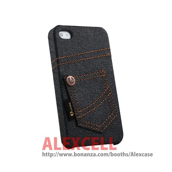 Denim Jeans case for Iphone 4/4s Black Jeans (get 1 plastic case free)