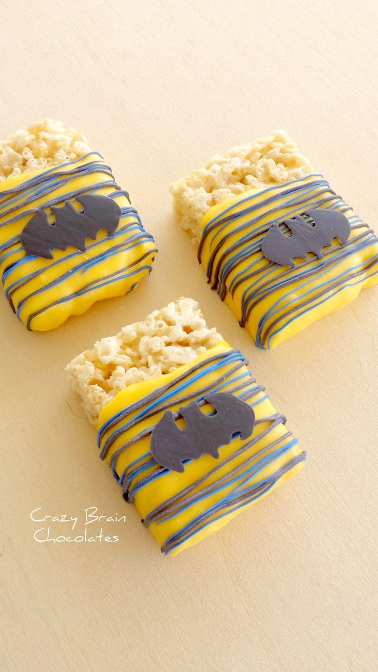 Batman Chocolate Dipped Rice Krispie Treats (12) by CrazyBrainChocolate on Etsy