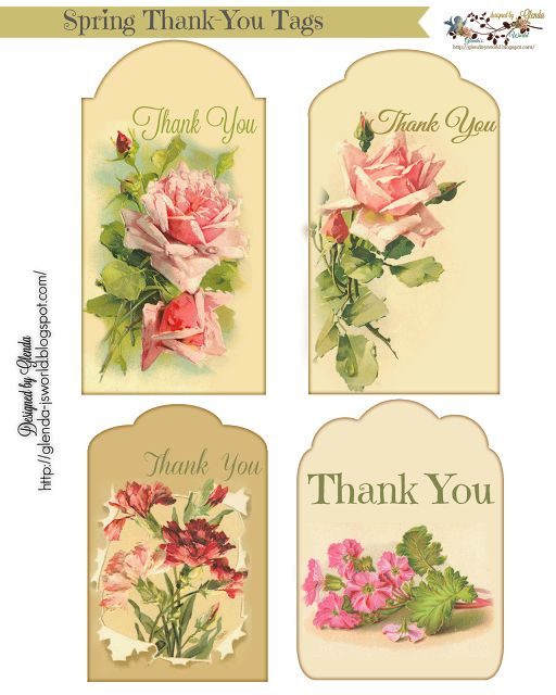 Spring Thank You Tags | glenda's world | Free printable ...