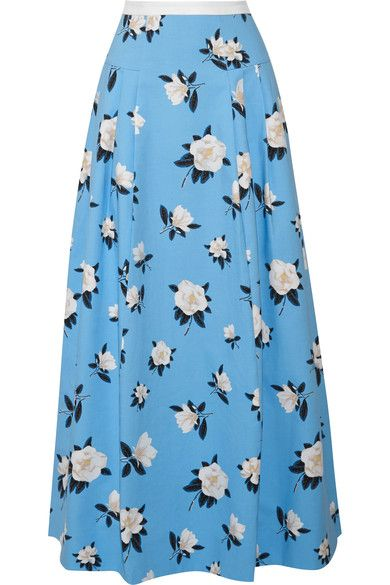 Draper James - Pleated Printed Cotton-piqué Maxi Skirt - Light blue - US4