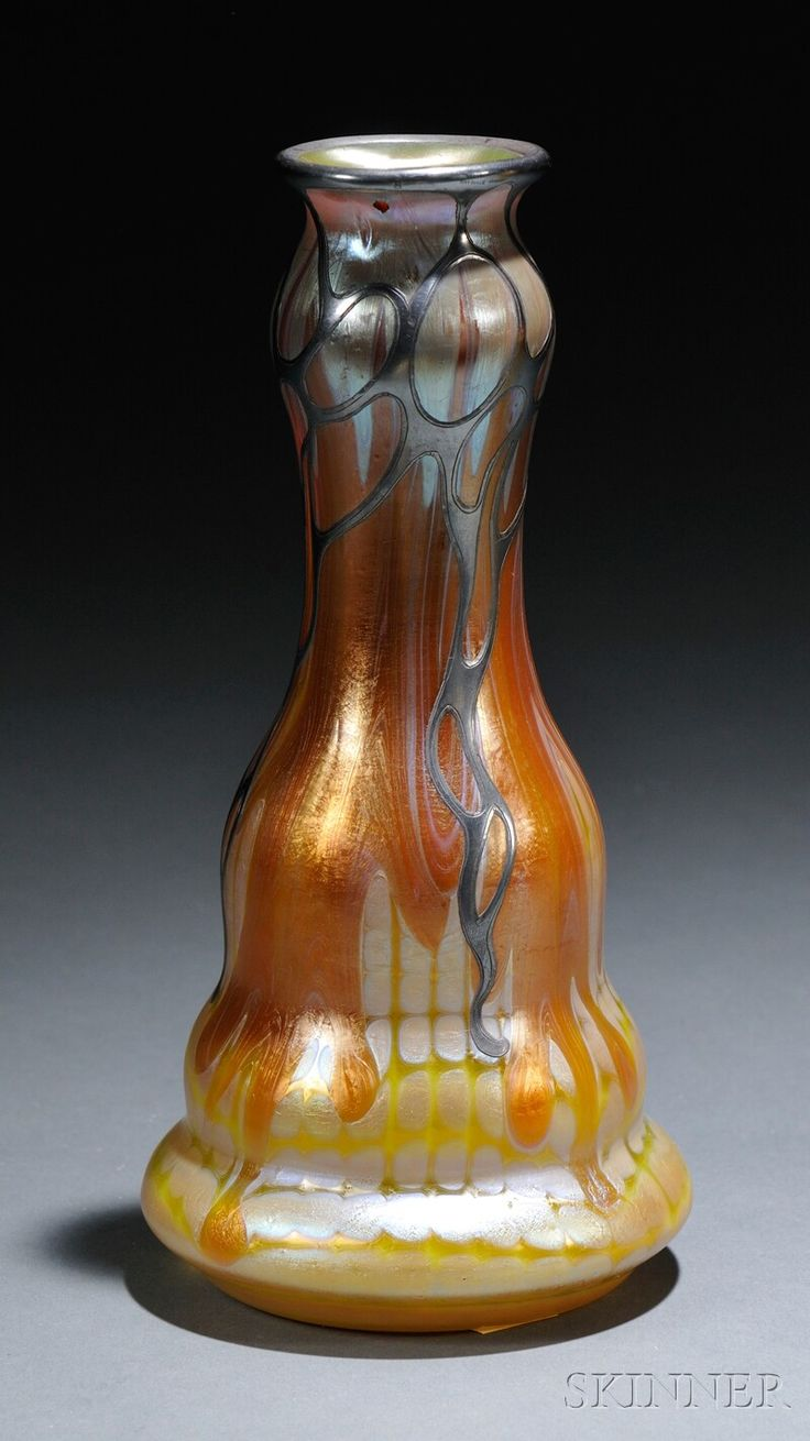 609 best loetz glass images on pinterest art nouveau glass vase loetz vase pattern pg 691 with silver overlay pg 691 is a yellow ground with horizontal threads broken into dots silver yellow top with orange stripes reviewsmspy