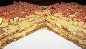Vynikající oříškový dort s vanilkovým krémem posypaný čokoládou!   Milujeme recepty