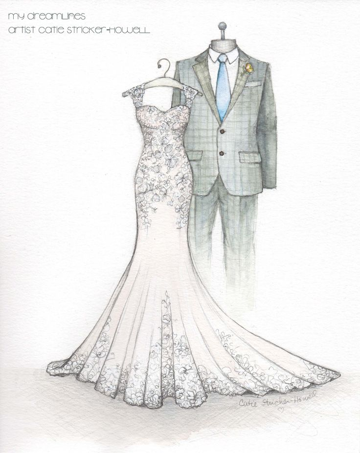 Loved sketching this mermaid style wedding gown! A wedding ...