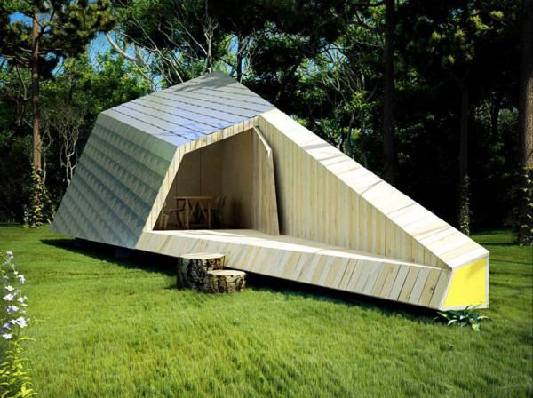 interesting and unusual, sculptural timber pod
