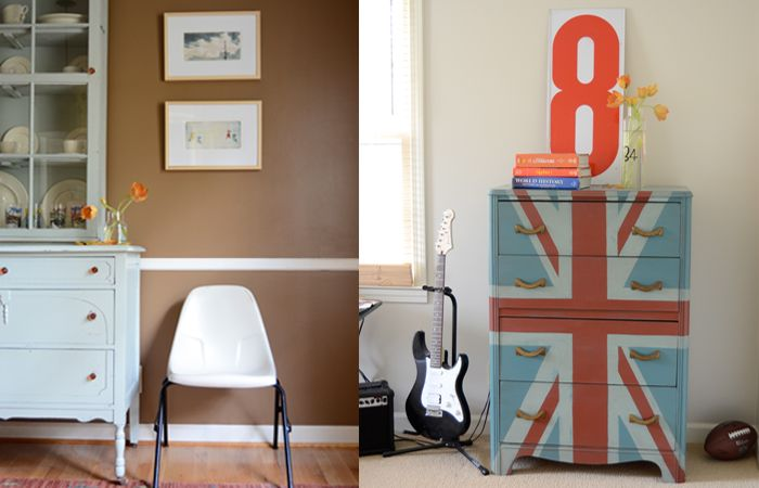 love the union jack-painted chest of drawers