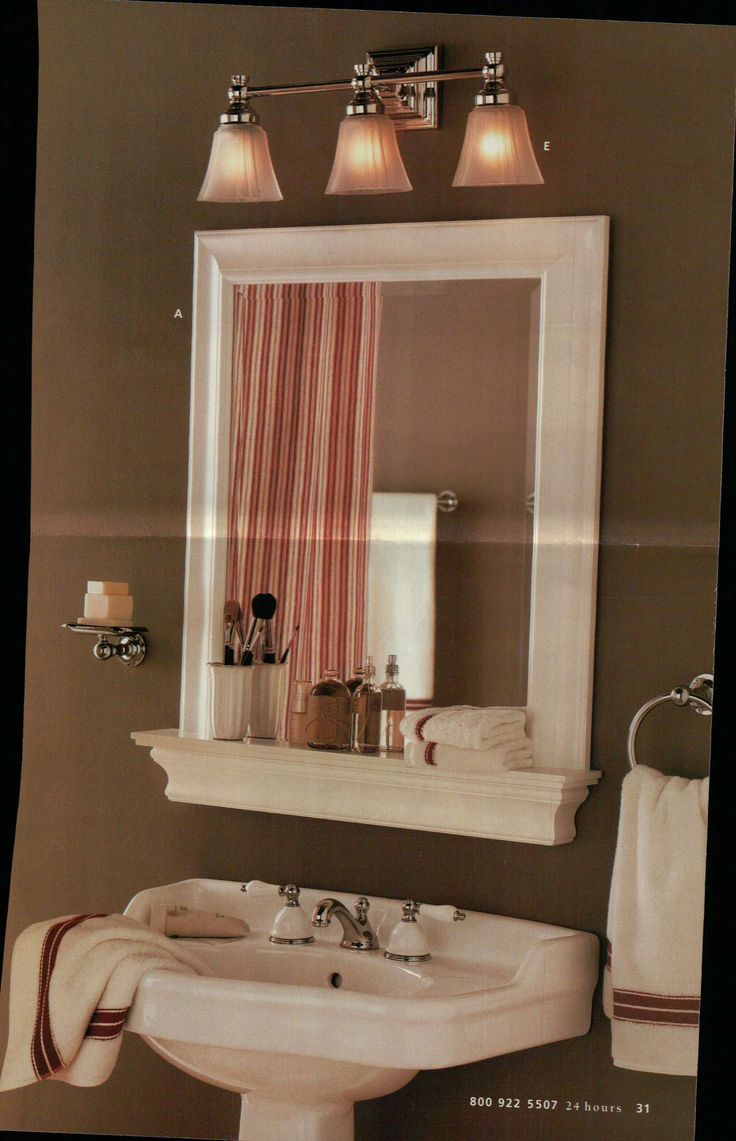 Framed bathroom mirrors ideas - Framed Bathroom Mirror And Shelf But With A Hole In The Shelf For A Mason Jar