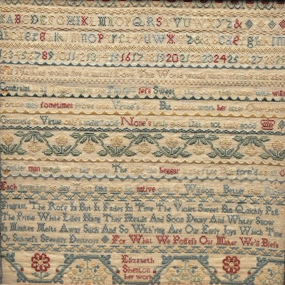 This is lot 1651 for sale on 14 March at Bamfords Auctioneers, Derby. It is described as: A 19th century rectangular needlework sampler, Elizabeth Shenton, her work, embroidered in coloured threads with alphabet, Arabic numerals, scrolling foliage and verse, 32cm x 32cm. It is undated and it looks early 19th century, if not 18th century.