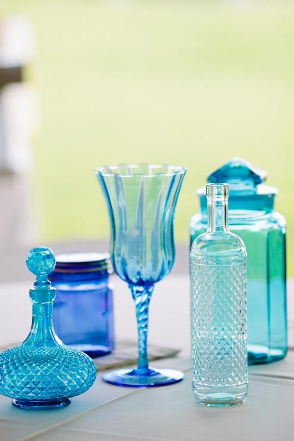 Blue glass - wedding decorations