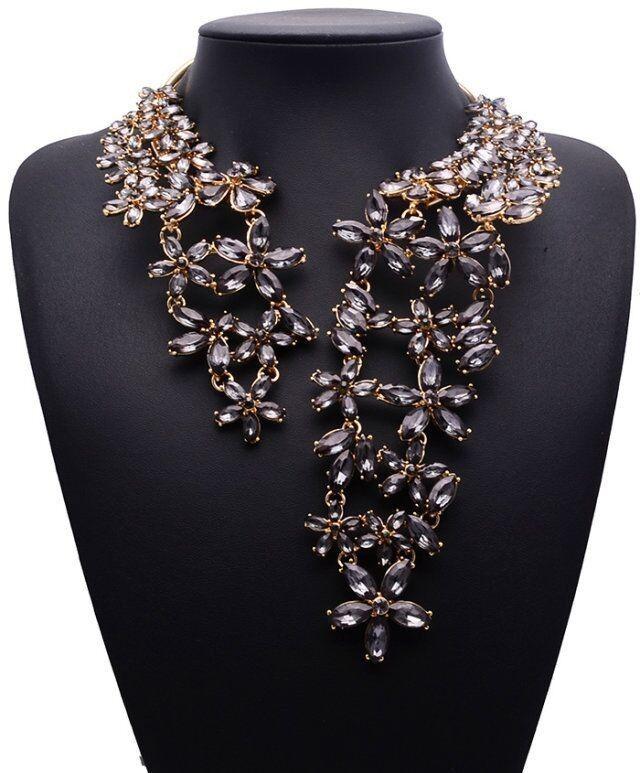 2015 год. Женское ассиметричное разомкнутое ожерелье с цветами из горного хрусталя купить на AliExpress