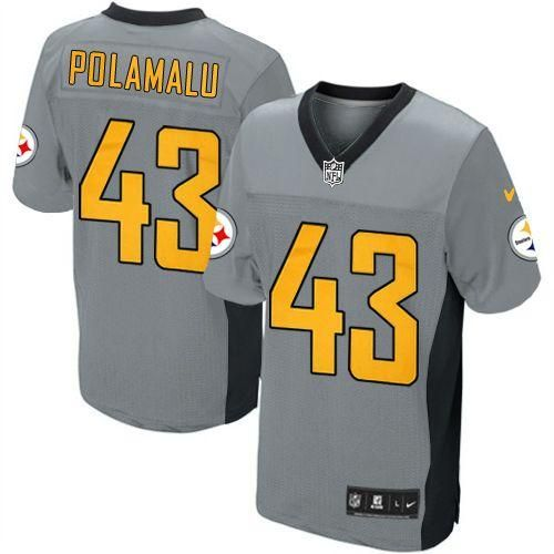 Nike Steelers #43 Troy Polamalu Grey Shadow Youth Embroidered NFL Elite  Jersey @Emillia Kelly