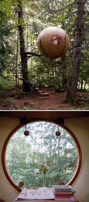 Free Spirit Spheres Treehouses / Vancouver Island, Canada cc:@LizDorna para q tu papá lo haga en el monte